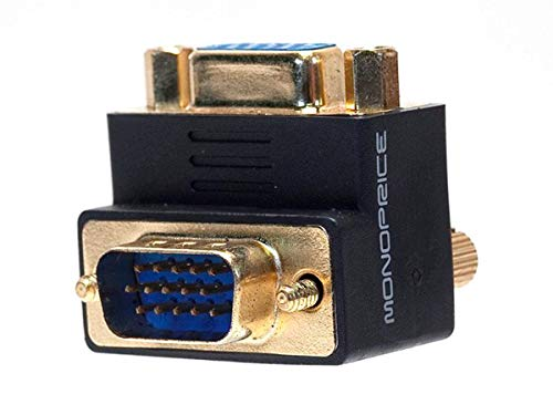 Monoprice Female to Male VGA Coupler - 90 Degree ,Gold Plated (108730)