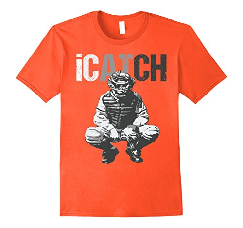 Male Baseball Player (Mens iCatch Baseball Player Catchers Mens Catchers T-Shirt XL Orange)