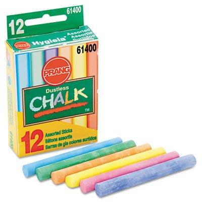 (Hygieia Dustless Board Chalk, 3 1/4 x 3/8. Assorted, 12/Box, Sold as 12 Each)