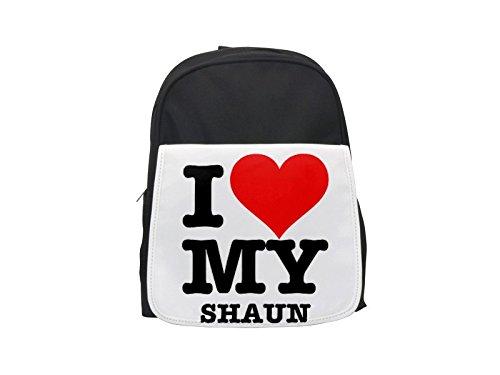 I LOVE MY SHAUN printed kid's backpack, Cute backpacks, cute small backpacks, cute black backpack, cool black backpack, fashion backpacks, large fashion backpacks, black fashion backpack