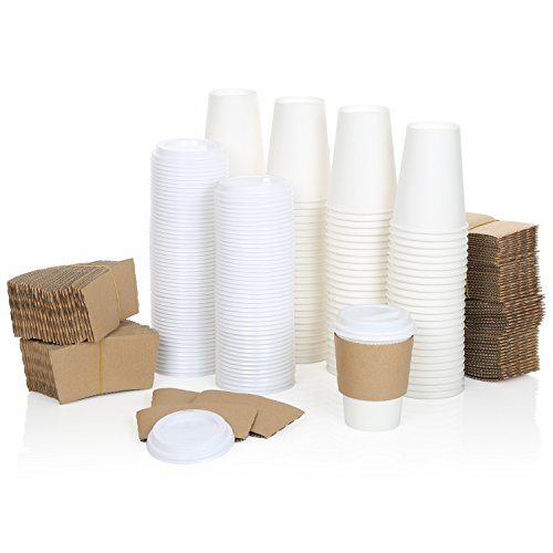 100 Pack of Premium 16 oz White Disposable Coffee Hot Cups +