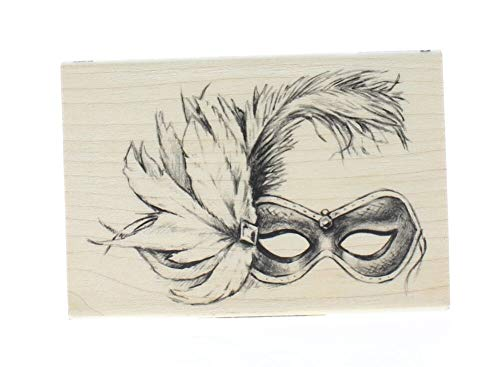 ShopForAllYou Stamping & Embossing Halloween Mardigras Feathered Mask Wooden Rubber -