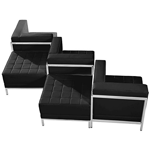 Flash Furniture HERCULES Imagination Series Black Leather 5 Piece Chair & Ottoman Set from Flash Furniture