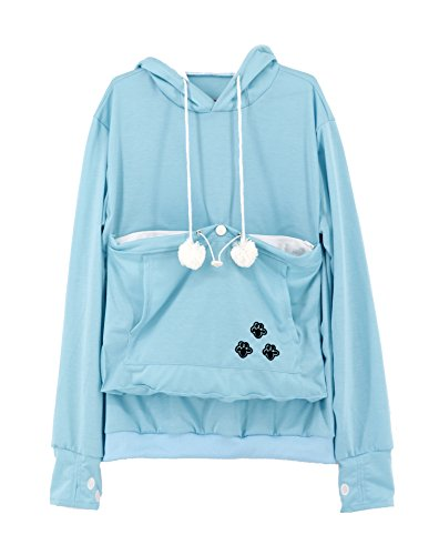 SAIANKE Womens Hoodies Pet Holder Cat Dog Kangaroo Pouch Carriers Pullover Light Blue]()