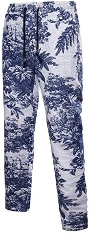 Romancly Men Folk Style Waistband Stretchy Flower Print Training Pant