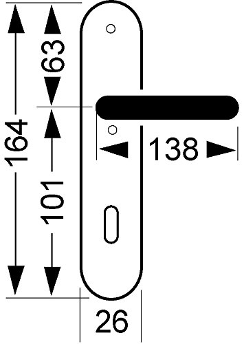 Befestigungsmaterial 1 T/ürgarnitur inkl PZ Profilzylinder DIN-NORM Gedotec Dr/ückergarnitur Schmiedeeisen T/ürbeschlag Antik schwarz T/ürgriff auf Langschild Modell TILLY SK
