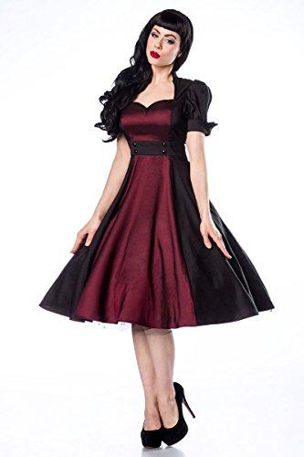 Sixties Schwarz Ausschnitt Kleid und Puffärmeln mit Kleid Rockabilly Burgund Schlüsselloch wBfqYt4