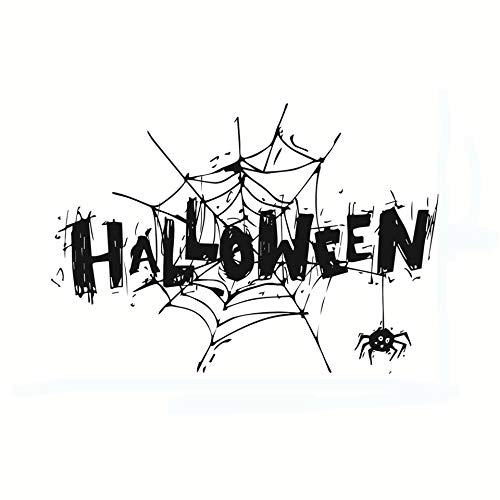 Home Find Halloween Decorations Halloween Art Font Design Quote Decals Creepy Spiders Black Cobweb Wall Stickers Self Adhesive DIY Vinyl Art Murals for Halloween Party 16.5 inches x 11.4 inches]()
