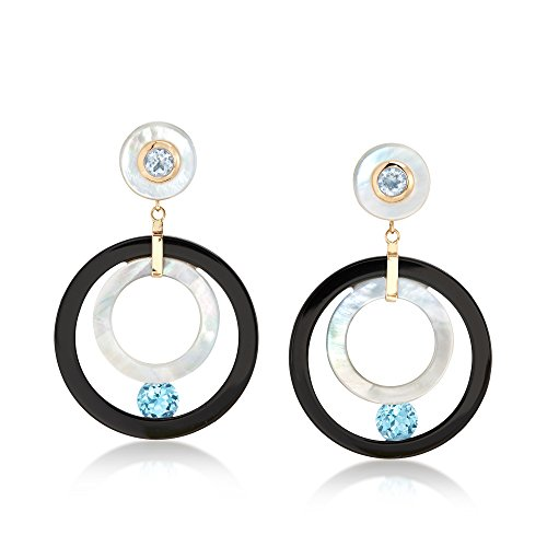 Ross-Simons Mother-Of-Pearl and Black Onyx Open-Circle Drop Earrings With Blue Topaz in 14kt Gold