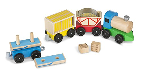 Wooden Cargo - Melissa & Doug Cargo Train - Classic Wooden Toy (4 linking cars, approx. 5 inches long each)