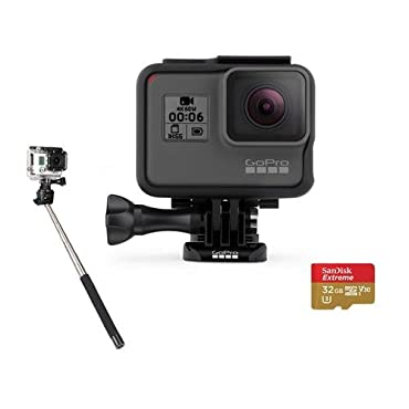 GoPro HERO6 Black Bundle with 32GB SDHC Card, and Selfie Stick