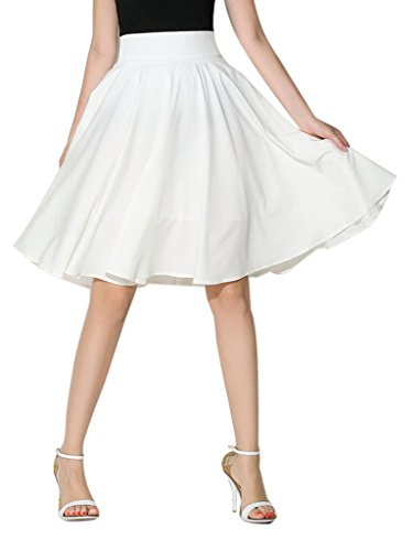 Women's High Waist White Midi Skater Skirt - Skirt Waist Drop Pleats