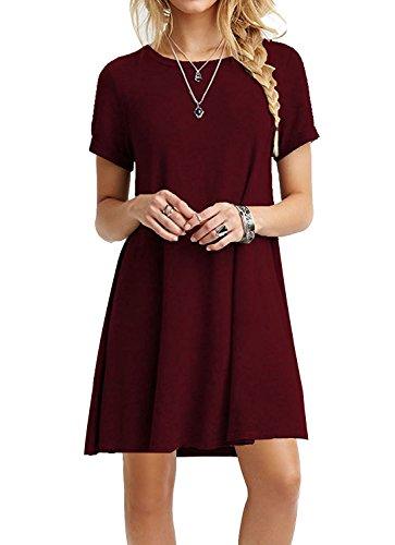 MOLERANI Women's Short Sleeve Casual Loose T-Shirt Dress Wine Red M