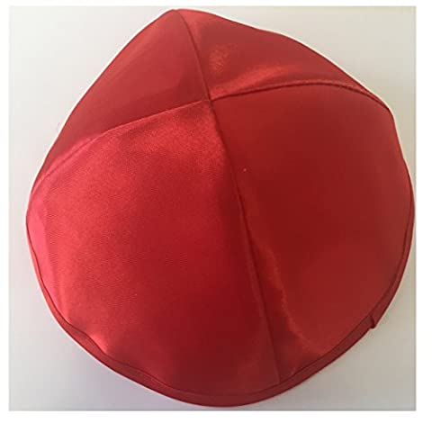 Alef Judaica Bright Red Satin Kippah with Matching Border and Large High Dome Design - 6 Kippot Per Order