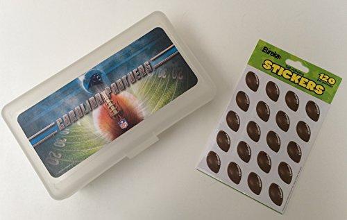 NFL Carolina Panthers Translucent Plastic Pencil Box with Bonus Football Stickers - Plastic Football Case