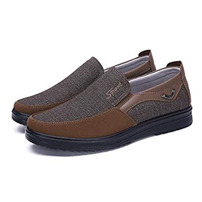 COSIDRAM Men's Slip-On Loafer Casual Driving Shoes Breathable Canvas Comfortable Lightweight Great Travel Walking Shoes for Adult Male Black Grey Brown Plus Size Brown Size: 6.5