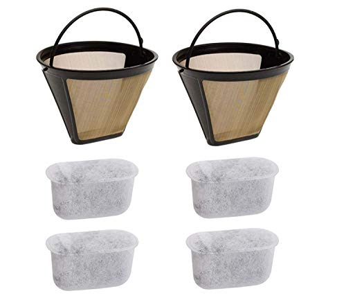 Podoy Gold Coffee Filter for Cuisinart with Charcoal Water Filters Cone Style #4 Tone Permanent 6-12 Cup Washable Reusable Machines and Brewers