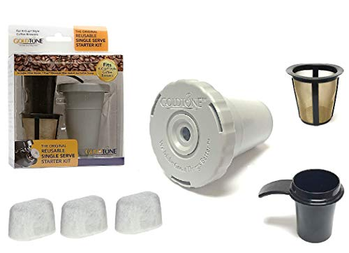 GOLDTONE Reusable Single Serve Starter Kit for KEURIG Includes - (1) My K-Cup Filter Housing, (1) Reusable K-Cup Filter, (3) Charcoal Water Filters, (1) Coffee Scoop