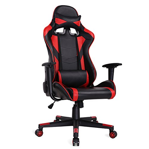 Ergonomic Gaming Chair Racing Style Adjustable High-back PU Leather Office Chair Computer Desk Chair Executive and Ergonomic Style Swivel Video Chair with Headrest and Lumbar Support-Red