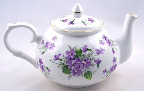 Fine English Bone China Teapot - Wild Violet Chintz - Adderley of England