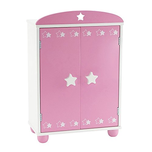 14 Inch Doll Furniture | Beautiful Pink and White Armoire Closet with Star Detail Comes with 5 Doll Clothes Hangers | Fits American Girl Wellie Wisher Dolls