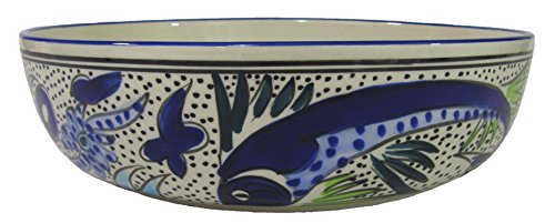 Le Souk Ceramique AF05 Wide Stoneware Salad/Pasta Bowl, Aqua Fish Design