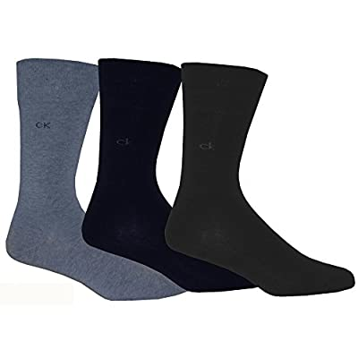 Calvin Klein 3-Pack Flat Knit Men's Socks, Assorted Blues