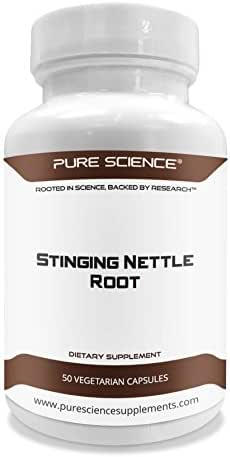 Pure Science Stinging Nettle Root Extract 500mg (300mg Nettle Root Extract at 2% Silica & 200mg Nettle Root Powder) - 50 Vegetarian Capsules