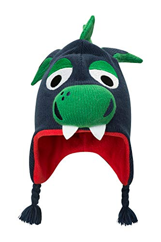 Mountain Warehouse Dragon Kids Character Hat - Fun Warm Winter Beanie Green 15403efbe0d1