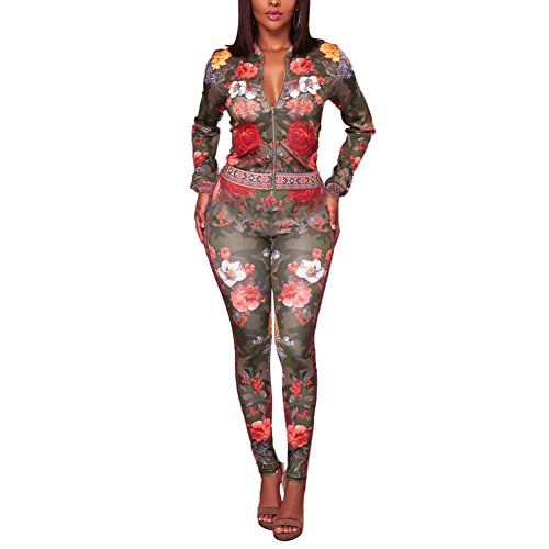 Sexy Military Outfit (2 Piece Outfits for Women Long Sleeve Floral Blazer Jacket with High Waist Skinny Long Pants Army Green L)