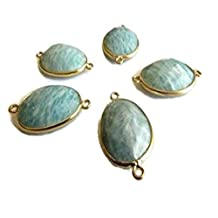5 Pieces Amazonite Rose Cut Connector,925 Sterling Silver Vermeil Gold,Bezel Gemstone Connectors SKU-5385