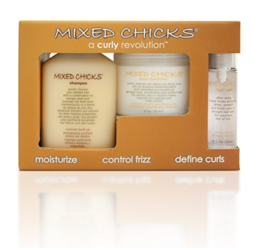Mixed Chicks Quad Pack - Shampoo 10 fl. oz., Deep Conditioner, 8.0 fl. oz., Leave-In Conditioner, 10 fl. oz., Hair Silk, 1.7 fl. oz