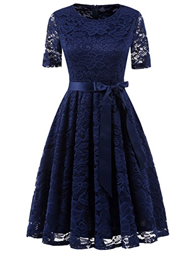 DRESSTELLS Short Bridesmaid Scoop Floral Lace Dress Cocktail Formal Party Dress Navy 2XL