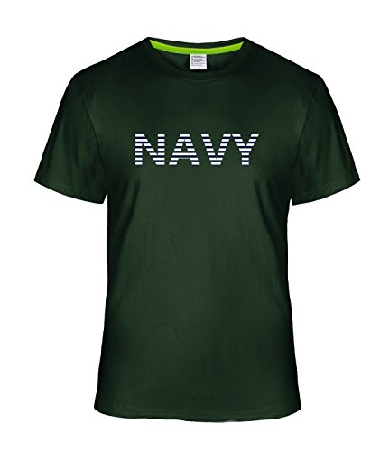 (May26 Alphabet Stripe NAVY T-Shirt For Men M deepGreen)