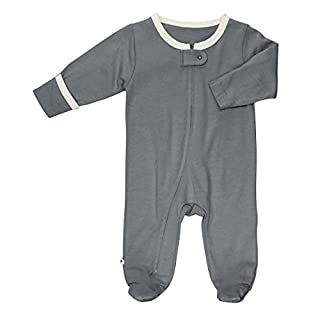 Babysoy Zipper Footies - Baby Footed Pajamas Sleeper Solid Colors 0-12 Months (Tornado, 0-3 Months)