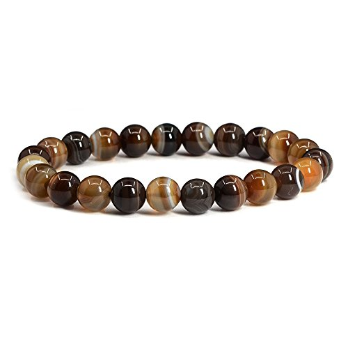 Brown Banded Agate Gemstone 8mm Round Beads Stretch Bracelet 7