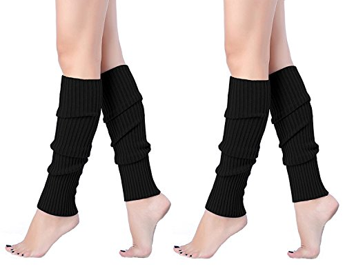 V28 Women Juniors 80s Eighty's Ribbed Leg Warmers for Party Sports (one size, 2 Pack(Black+ Black)) -