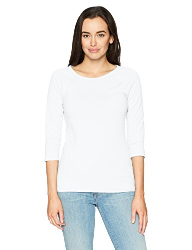 Hanes Women's Stretch Cotton Raglan Sleeve Tee, White, Large