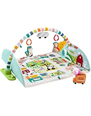 Fisher-Price Activity City Gym to Jumbo Playmat, Infant to Toddler Activity Gym with Music, Lights, Vehicle Toys & Extra-Large Playmat