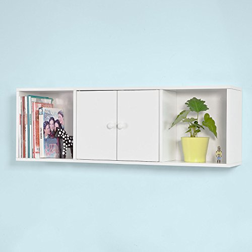 SoBuy Wall Shelves,Wall rack,Wall Cabinets ,Wall-Mounted Cabinets ,Storage Racks, Hanging Entryway Shelf,Storage Shelf ,and Coat Rack Wall Shelf with Hooks (Floating Wall Cabinet)