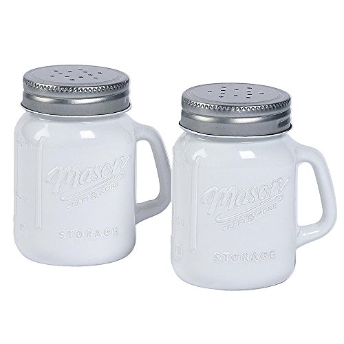 White Glass Mason Jar Salt and Pepper ()