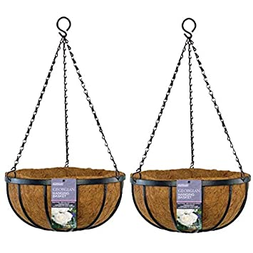 Gardman 35cm 14 Inch Georgian Metal Hanging Basket Black Planter With Coco Liner