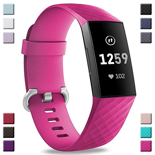 Hamile Bands Compatible with Fitbit Charge 3, Waterproof Replacement Watch Strap Fitness Sport Band Wristband for Fitbit Charge 3, Small, Rose