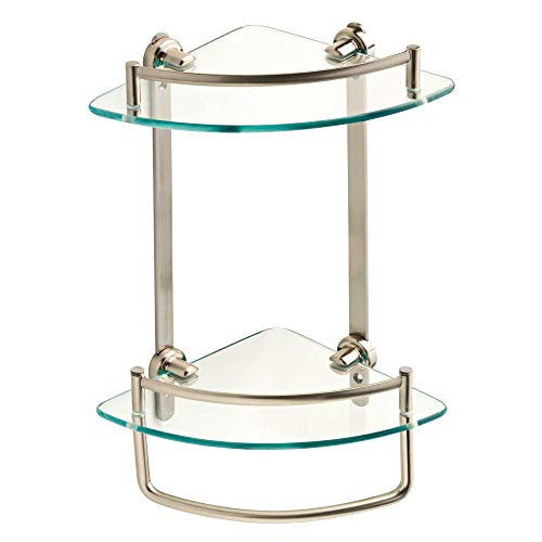 Bathroom Corner Double Shelf With Hand Towel Bar - Glass and Brushed Nickel