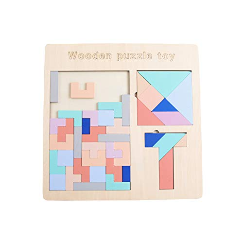 GEMEM 3 in 1 Wooden Tetris Puzzle Brain Teasers Toy Tangram Blocks T Jigsaw Game Intelligence Educational Toys for Children and Adults 51 Pieces
