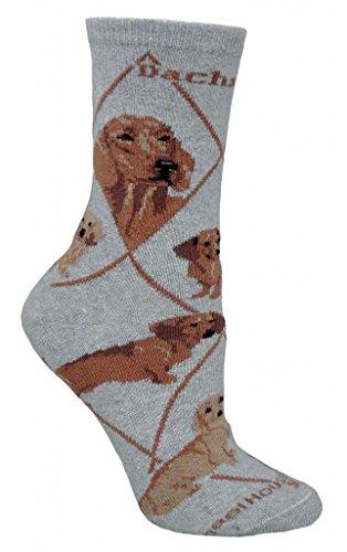 Dachshund Socks - Red Dachshund Socks On Gray 9-11