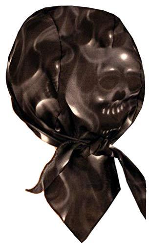 (Sparkling Earth Skull Cap Biker Caps Headwraps Doo Rags - Ghost Skulls on Black)