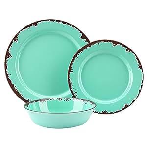 rustic melamine dinnerware set 12 pcs yinshine outdoor camper dinnerware dishes. Black Bedroom Furniture Sets. Home Design Ideas