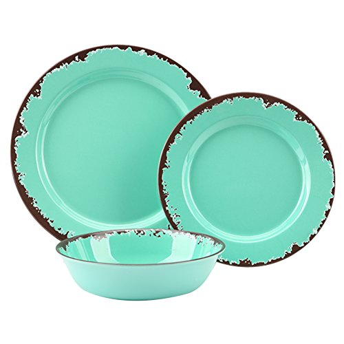 Rustic Melamine Dinnerware Set - 12 Pcs Yinshine Outdoor Camper Dishes Set Service for 4, Green