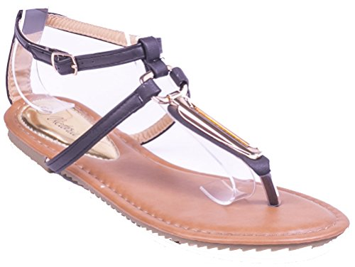 Victoria K Women Camel Open Toes Closed Back Flat Thong Sandals, 8